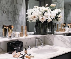 flowers, chanel, and bathroom image