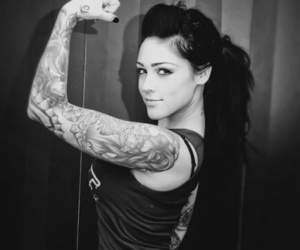 girl, tattoo, and black&white photography image