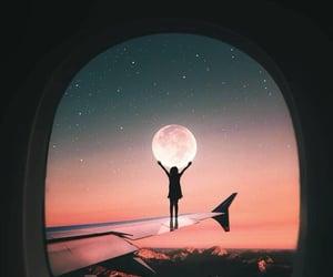 девушка, небо, and луна image