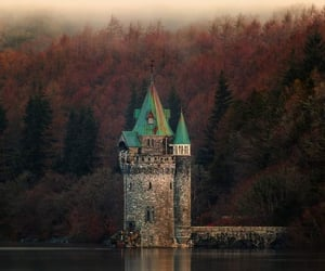 castle, fantasy, and lake image