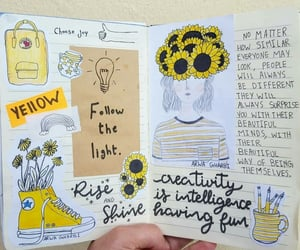 aesthetic, yellow, and bullet journal image