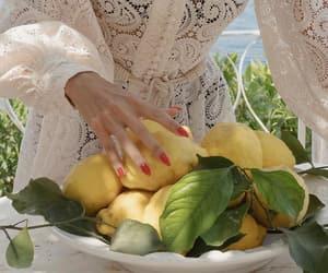beach, dress, and fruit image