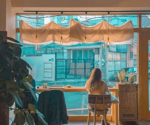 aesthetic, sitting, and cafe image