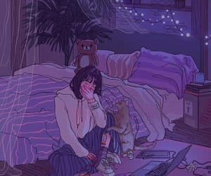 girl, sad, and purple image