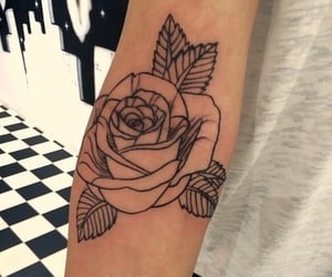 black ink, black rose, and ink image