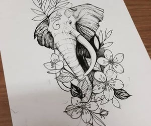 drawing, elephant, and flower image