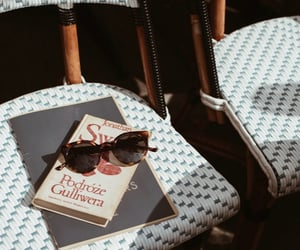book, fashion, and sunglasses image