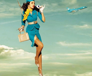 flight attendant and turquoise image