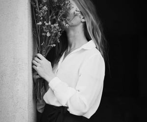 girl, black and white, and flowers image