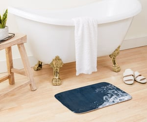 bath mat, blue, and home decor image