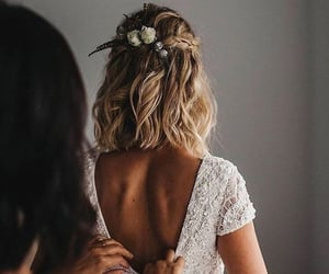wedding, bride, and hair image