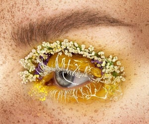 eye, eye make up, and flowers image