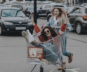 girl, supermarket, and friends image