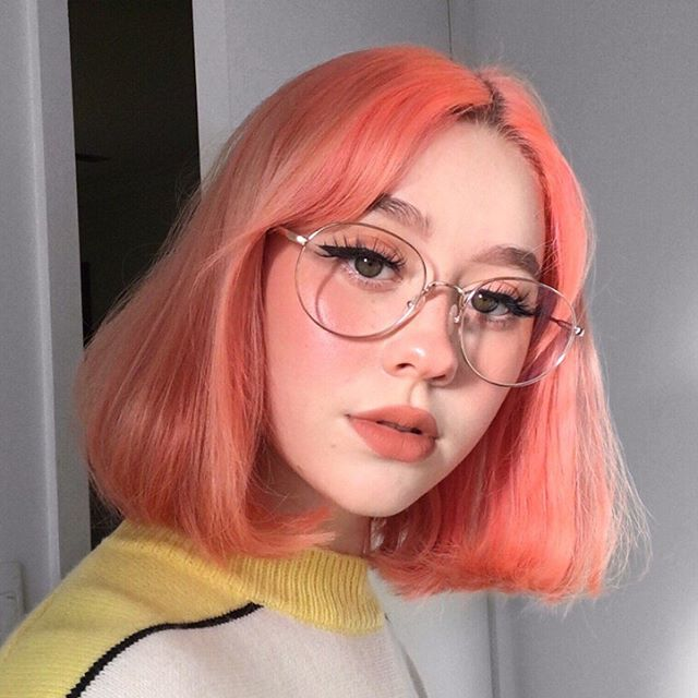color hair, colored hair, and eyeglasses image
