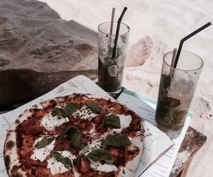 pizza, food, and beach image
