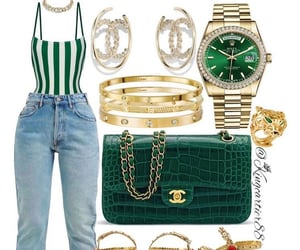 fancy, gold, and green image