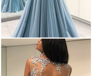 prom gown, lace applique prom dress, and vestido de longo image