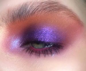 eyeshadow, green eyes, and purple image