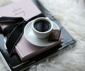 coffee, book, and chocolate image