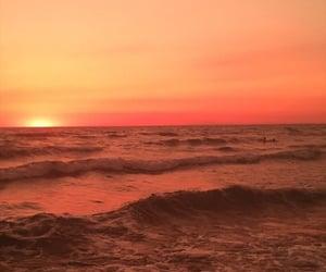 ocean, orange, and sky image