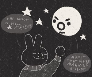 bunny, moon, and doodle image