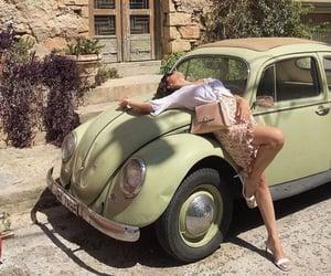car, girl, and green image