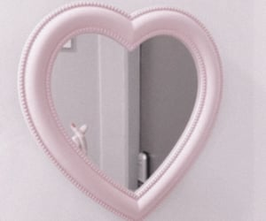 pink, heart, and mirror image