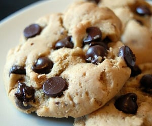 chocolate chips, cookie dough, and Cookies image