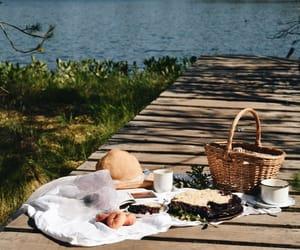 basket, lake, and photography image