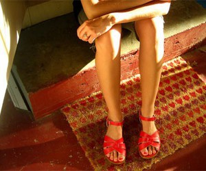sandals, red sandals, and saltwater sandals image