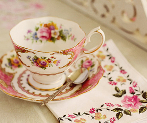 antique, tea, and pink image