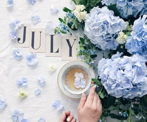 blue flowers, cup of tea, and flowers image