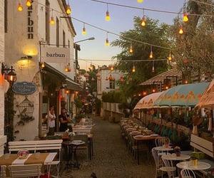 restaurant, lights, and travel image