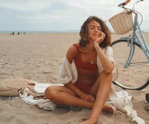 beach and girl image