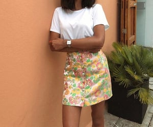 floral skirt, white shirt, and summer outfit image