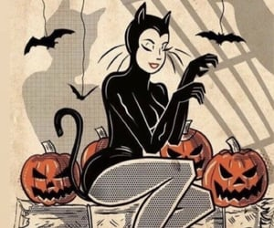 bats, black cat, and Halloween image