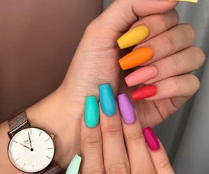 beauty, colorful nails, and yellow image