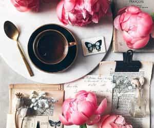 coffee, flowers, and peonies image