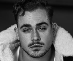 dacre montgomery, black and white, and stranger things image