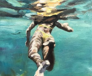 art, paintings, and swimming image