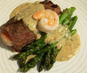 shrimp, steak, and veggies image
