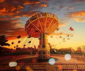 amusement park, childhood, and clouds image