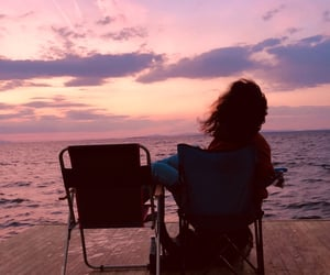 alone, chair, and girl image