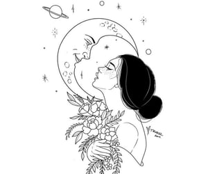 drawing, girl, and moon image