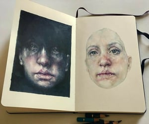 art, faces, and sketchbook image