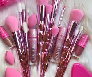 Brushes, pink, and cosmetics image