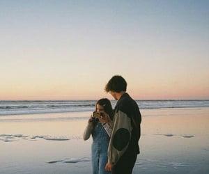 couple, beach, and girl image