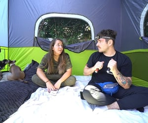 camping, tent, and jenna marbles image