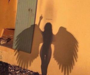 angel, girl, and shadow image
