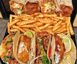 food, fries, and tacos image